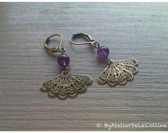 Art deco earrings with brass textured fan and amethyst bead