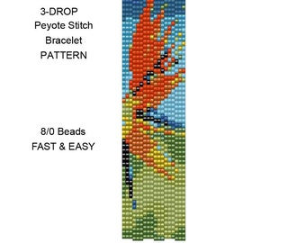 Beadweaving Bracelet Pattern 26 - Size 8/0 Seed Beads - 3 Drop Peyote Stitch - Fast and Easy - Bird of Paradise