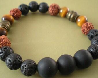 """BRACELET YOGA mixed """"3 beads and rudraksha"""" 8 mm"""