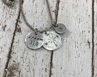 Graduation Gift - Dream Big - Compass - Initial - Hand-Stamped Charm Necklace - Graduation Necklace
