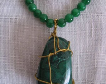 MALACHITE PENDANT Brass wired on Fine JADE Beads Necklace