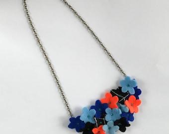 Felt Flower Necklace - Statement Flower Necklace