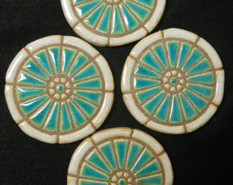 Mosaic Coasters PEKING BLUE WHEEL Handmade Ceramic Tile Coaster Set of 4