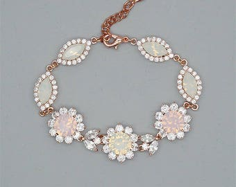 Opal Wedding Bracelet Swarovski Rhinestone Bracelet Pink Opal Bracelet for Brides Rose Gold Bridal Jewelry White Opal Bracelet White Gold