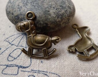 20 pcs of Antique Bronze Rocking Horse Charms 19x22mm A6414