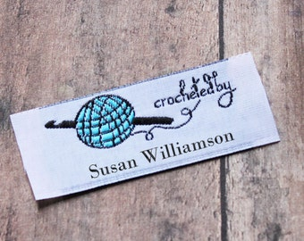 Crochet By Woven Labels, Crochet Tags, Custom Crochet Labels, Custom Clothing Labels, Personalized Labels for Crochet Projects