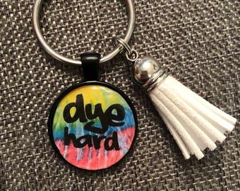 Dye hard tie-dye keychain
