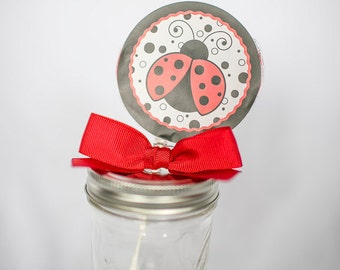 Ladybug Whirly Pop. Party Favor. Lollipop. Red. Cherry Flavored. First Birthday. Girl