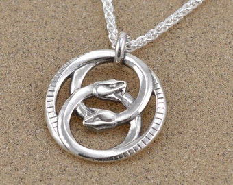 Double Ouroboros Pendant Necklace - Sterling Silver - Leather Cord or Sterling Wheat Chain