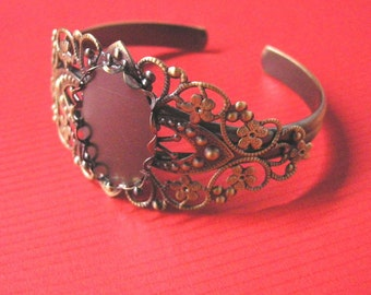 1pc antique bronze filigree bracelet setting-5416