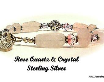 Rose Quartz Bracelet, Fourth Chakra Bracelet, Shamrock Bracelet, Butterfly Bracelet, Fertility Jewelry - B2013-20