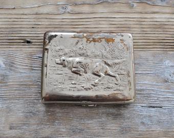 Vintage Soviet Russian Cigarette Case Hunting theme.