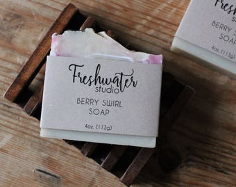 Berry Swirl Soap // Cold Process Soap // Handmade Soap // Artisan Soap // Shea Butter Soap