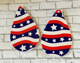 Stars and Stripes Patriotic Red, White, and Blue Faux Leather Pleather Shapes Cut Outs Earring Supplies Do It Yourself Craft Jewelry Supply