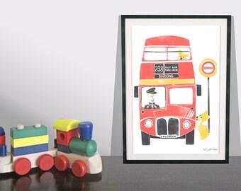 Retro London Corgi Art Print / Dog Art Print / Red London Bus Art / London Transport / Red Bus Wall Art  / Children's Playroom