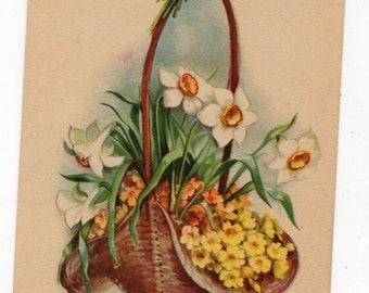 Easter vintage postcard - Easter flowers in basket