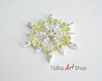 Paper Quilling Snowflake Ornament; Homemade Christmas Decoration in Pale Yellow and White