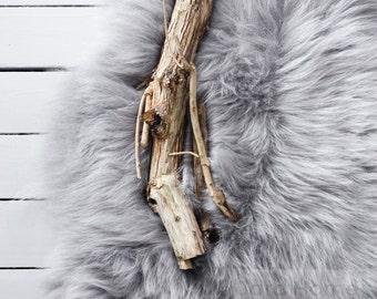 Grey/Gray Sheepskin Rug & Sheepskin Rarebreed Longhair Icelandic - The Leja