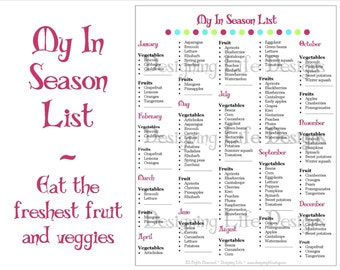 In Season Fruit and Vegetable List - Meal Planning Printable PDF