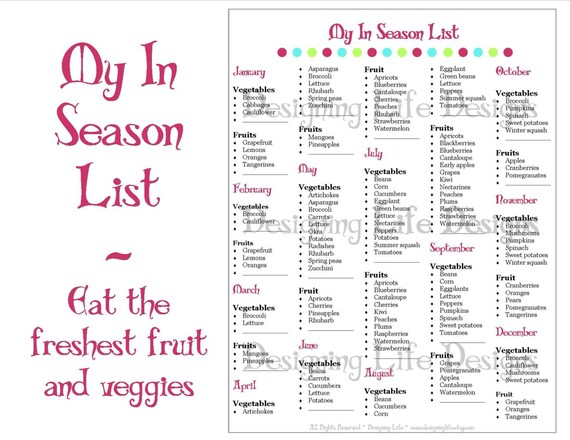 Ordinaire In Season Fruit And Vegetable List Meal Planning Printable