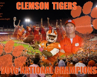 Clemson Tigers 2016 National Champions - Giclee' Print on Watercolor Paper