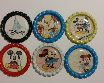 Set of 6 Disney Mickey & Minnie Mouse Finished Bottle Caps - Magnets - Necklaces