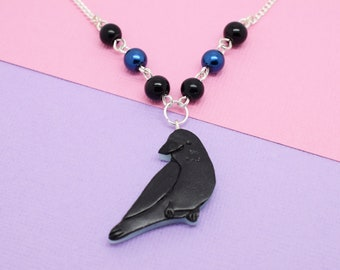 Crow Necklace // Bird Necklace, Bird Jewellery, Animal Necklace, Gifts for Bird Lover, Corvus, Carrion, Raven, Polymer Clay, Crow Jewellery