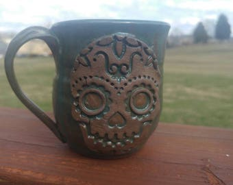 Sugar skull wheel thrown mug