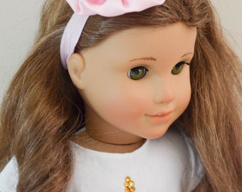 18 Inch Doll Headband Pink Rolled Satin Rose Fits American Girl Doll