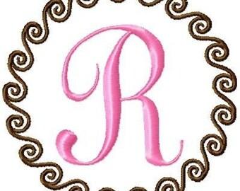 Swirl Circle Machine Embroidery Monogram Font Set 4x4 Hoop