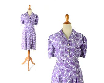 1930s dress, 30s dress, purple dress, floral print dress, vintage dress, women's dress, vintage clothing