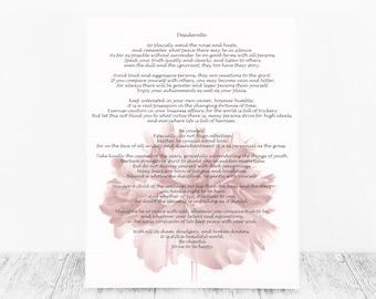 Desiderata Print, Max Ehrmann, Print Desiderata, Print, Desiderata, Poem Print, Max Ehrmann Poem, Print Poem, Desiderata Poem Gift Poem Gift