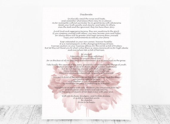 Desiderata Print by Max Ehrmann for Instant Download