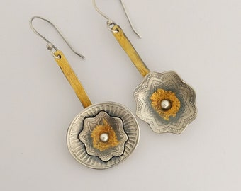 Sterling Mismatched Earrings, Silver And Gold Drop Earrings, Individually Handmade Earrings For Mom, Keum Boo Jewerly, Bridesmaid Gift.