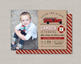 Fire Engine Birthday Invitation