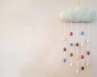 Crochet Hanging Cloud Mobile // Kids Room // Nursery // Baby Shower // New Baby