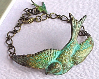Bird Cuff Bracelet - Verdigris Brass, Bird Jewelry, Nature Jewelry