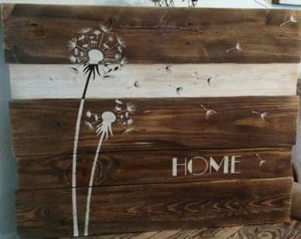 Pallet Dandelion sign, Home
