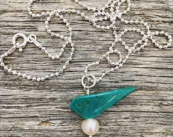 Turquoise and Sterling Momma Bird Necklace