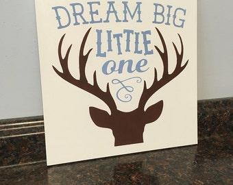 deer nursery dream big little one with deer head antlers buck nursery wood sign deer wood sign deer nursery wall decor deer nursery theme