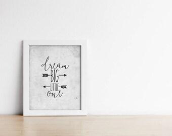 Nursery Art Printable - Dream Big Little One - Grey Nursery - Baby Shower Gift - Baby Boy Art - Baby Girl Art - Minimalist  - SKU:551