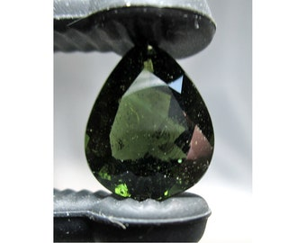 6.6 Carat FACETED MOLDAVITE Teardrop From Chlum, Czech Republic - ww1318