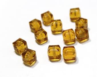 Vintage Topaz Beveled Edge Cube Beads 10mm 12 pcs