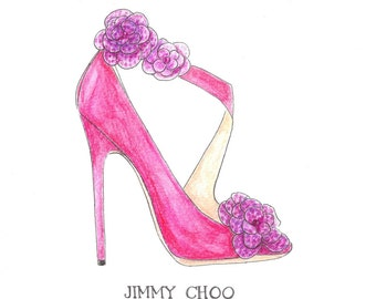 Jimmy Choo Pink Watercolor Fashion Illustration, Shoe Wall Art, Teen Bedroom Pink Purple Fashion Wall Art, Fashion Sketch, Girls Room Decor