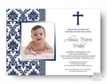 Greek Baptism Invitation - Printable Greek Christening Invitation - Greek Orthodox Baptism Invitation - Greek Invitations Religious Baptism