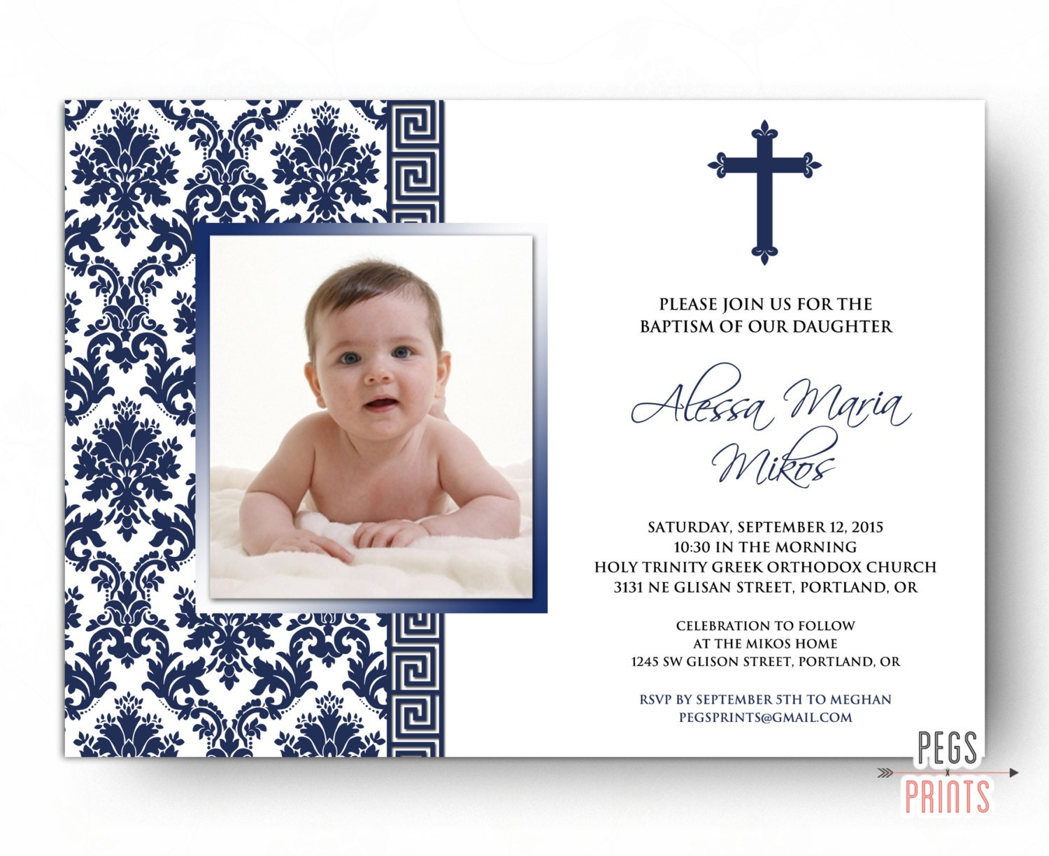 Greek Baptism Invitation Printable Greek Christening