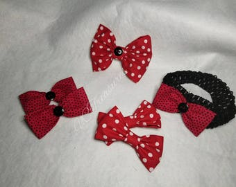 Red polka dot clips and headbands