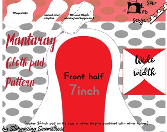 Cloth Pad Pattern, Mantaray wrap wing by Stargazing Seamstress, Sewing tutorial, Serged Pad, PDF Sewing Pattern, WIDE width