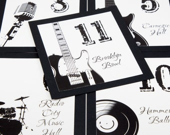 Music Venues Table Number Bands Wedding Decor Instruments Reception Sign Cards Bar Mitzvah Party Made to Order