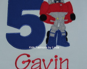 Birthday White Short Sleeve Shirt with Number/Red-Blue Rescue Robot